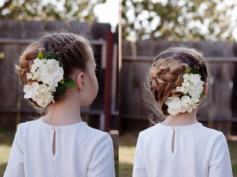 Прическа девочке на 1 сентября, на длинные волосы