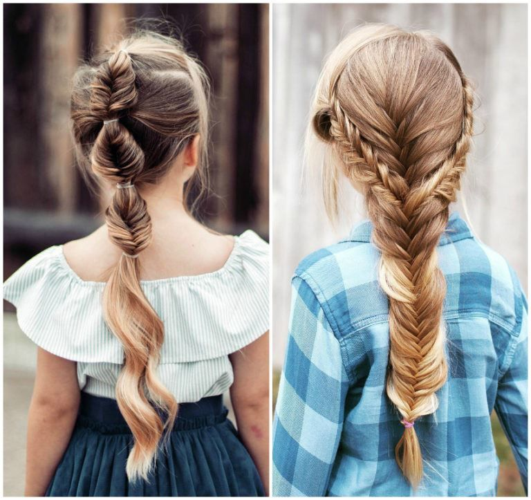 Косы на 1 сентября, на длинные волосы