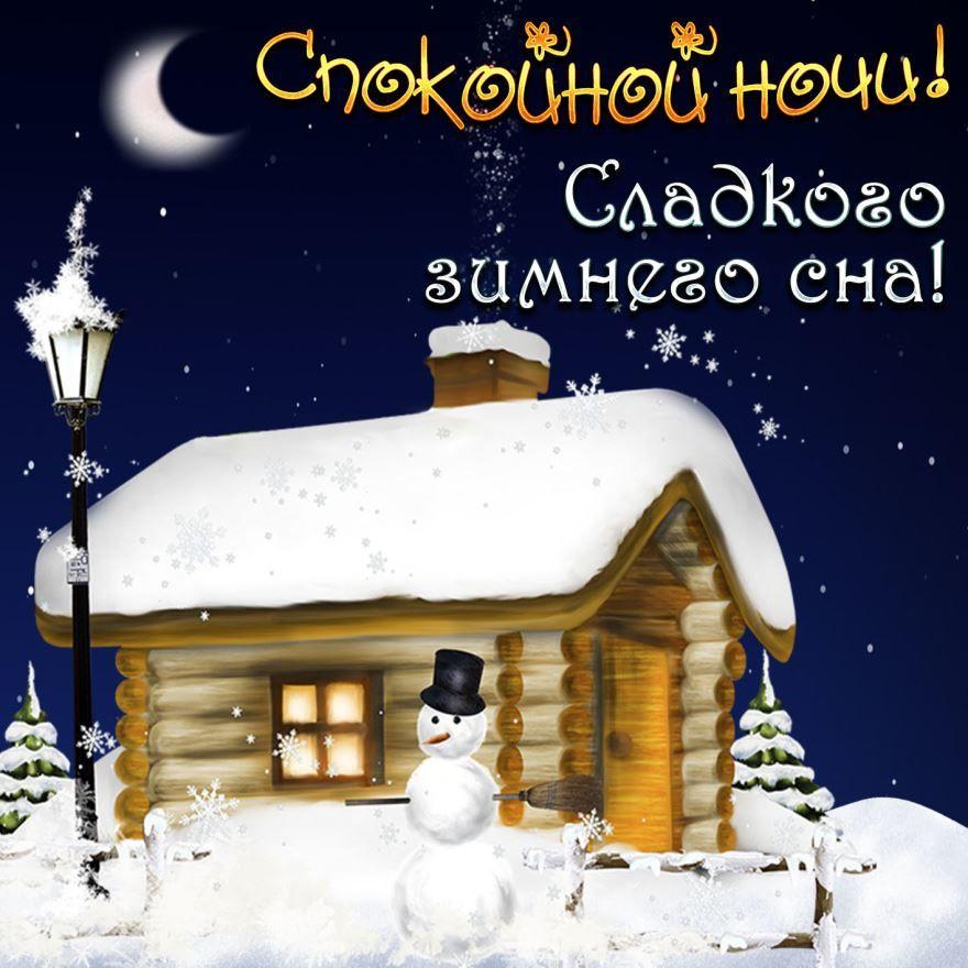 Красивая картинка с пожеланием - Доброй зимней ночи