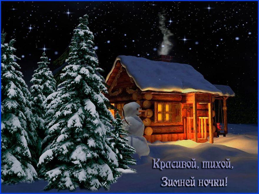Красивая открытка с пожеланием - Доброй зимней ночи