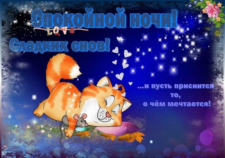 Скачать красивую картинку с пожеланием - Доброй ночи девушке