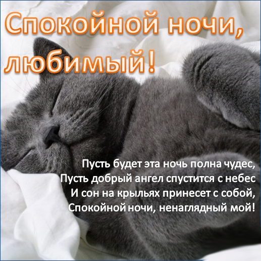 Красивое пожелание любимому мужчине 'Доброй ночи'