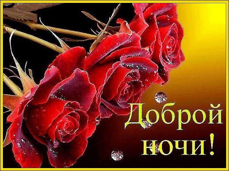 Доброй ночи 'Цветы', красивая открытка