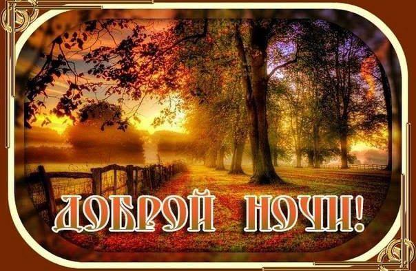 Картинка с надписью Доброй осенней ночи