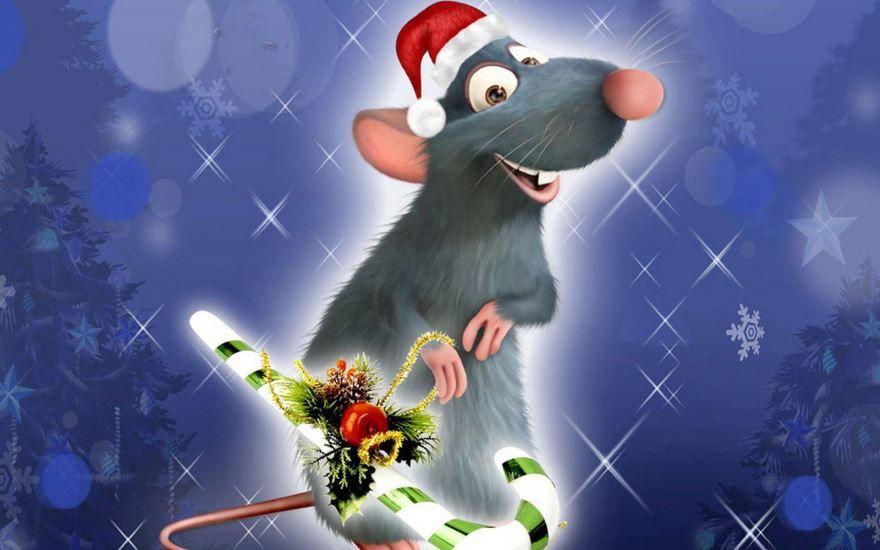 Картинка с красивой Новогодней крысой