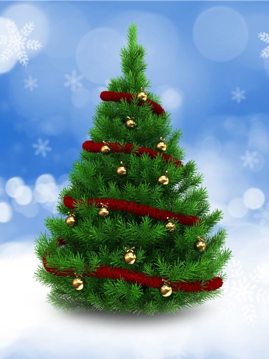 Новогодняя елка с золотыми шарами