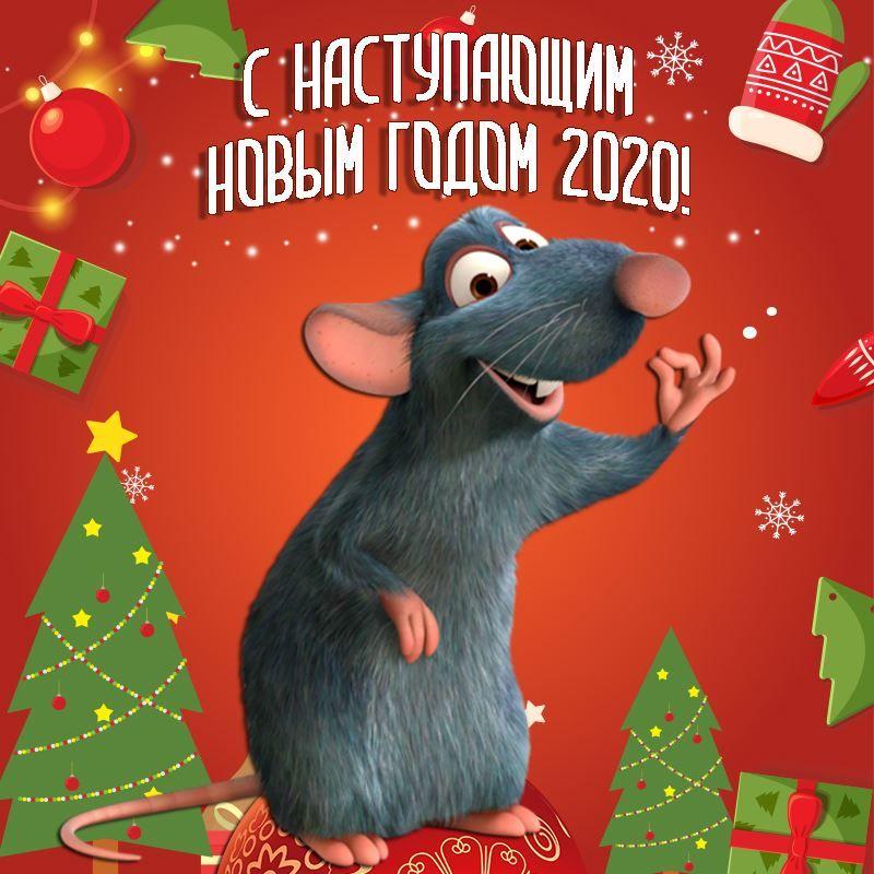 С Наступающим Новым годом, красивая картинка с символом года крысой