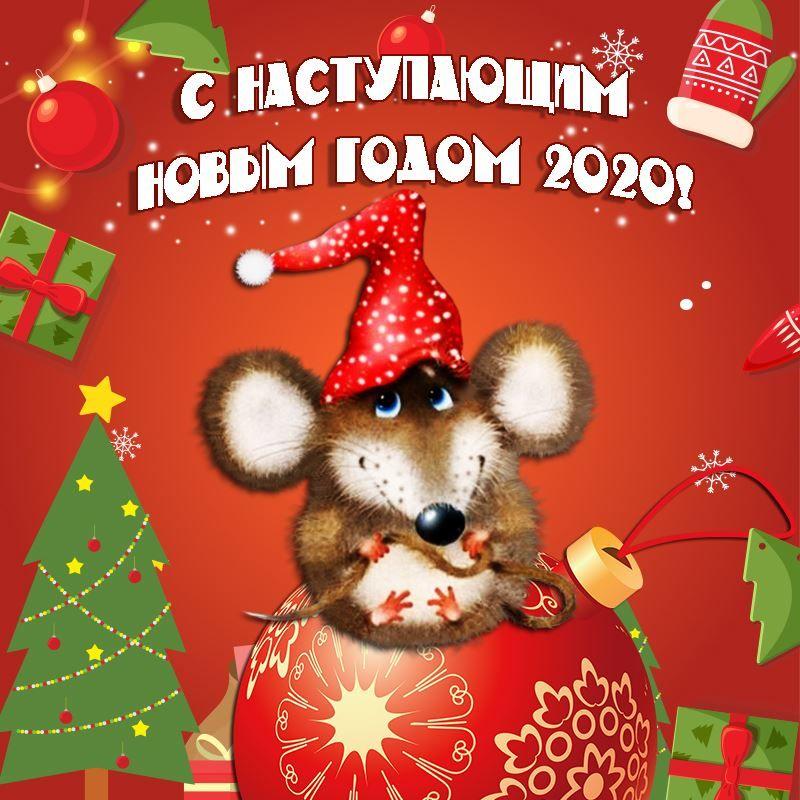 С Наступающим Новым годом, картинка с мышкой на рабочий стол