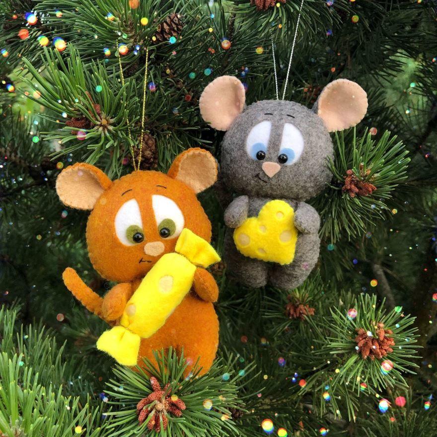 Красивые поделки мышки на Новый год, своими руками