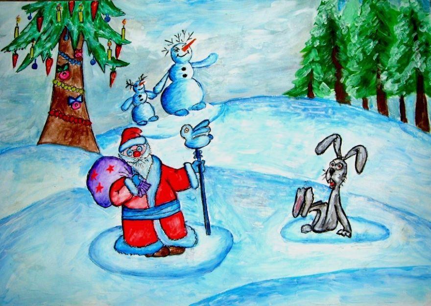 Легкие рисунки на Новый год для детей
