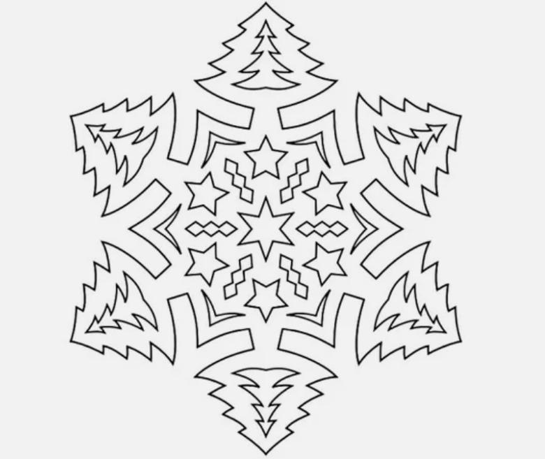 Снежинка - трафарет на Новогоднее окно