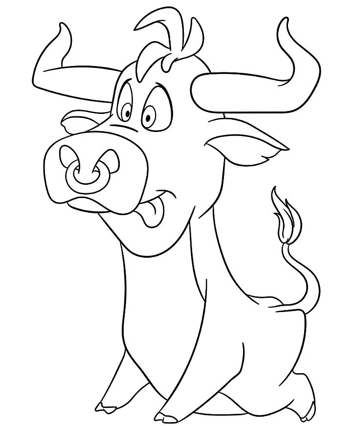 Символ года бык - трафарет для окна