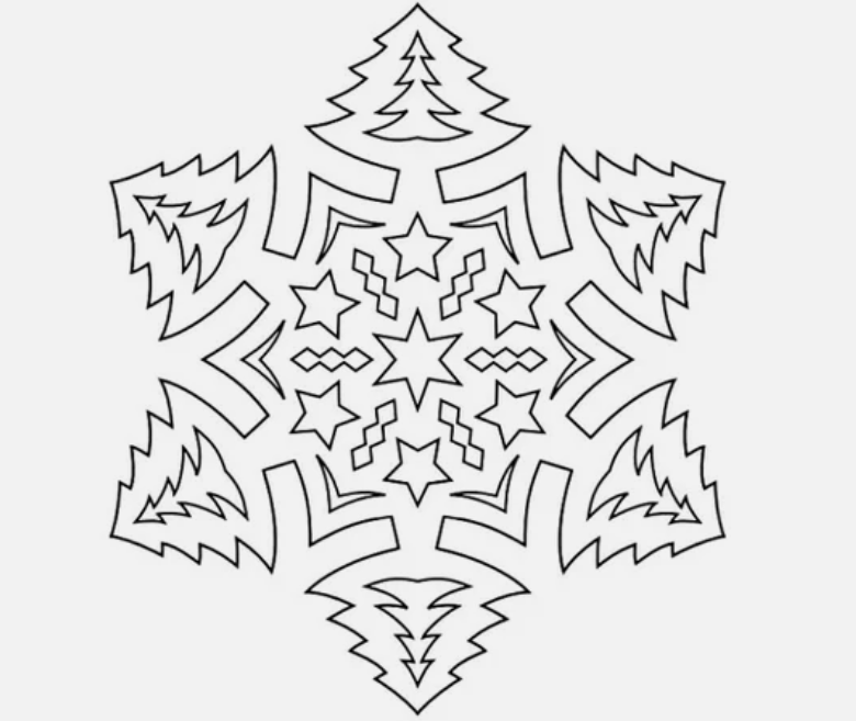 Трафареты на Новый год 2021 - снежинка