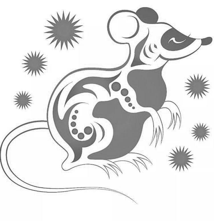 Новогодние картинки на окна - символ года крыса