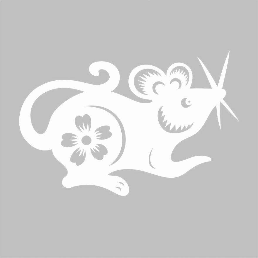 Новогодние окна - символ года мышь