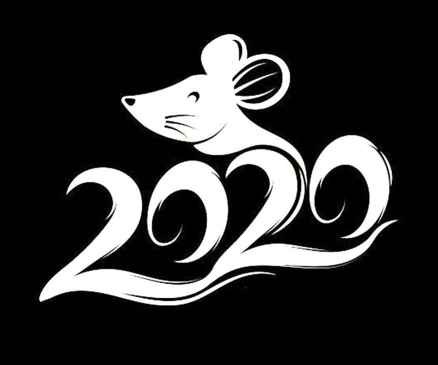 Трафарет на окно Новый год 2020, распечатать бесплатно