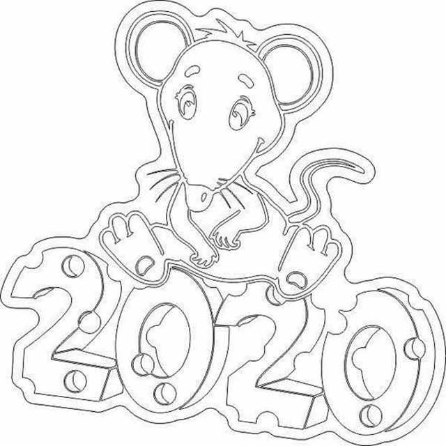 Мышка на окно Новый год 2020
