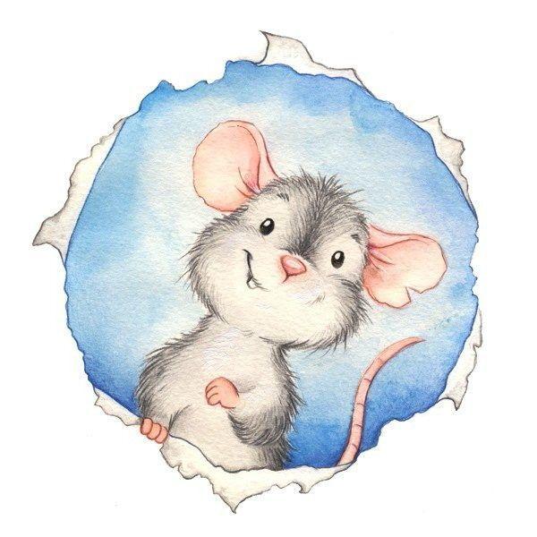 Рисунок мышки на Новый год