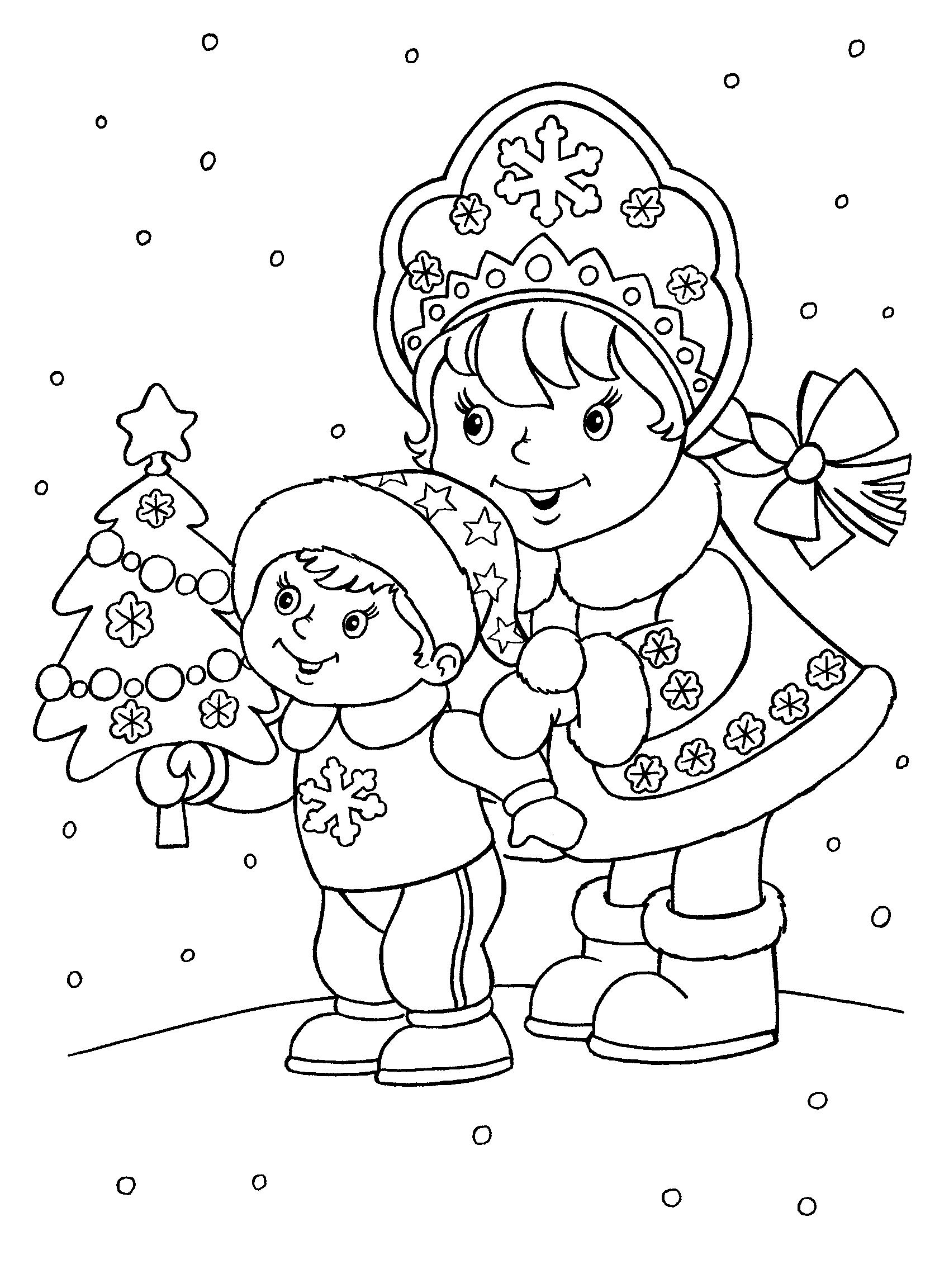 Раскраски для девочек на Новый год