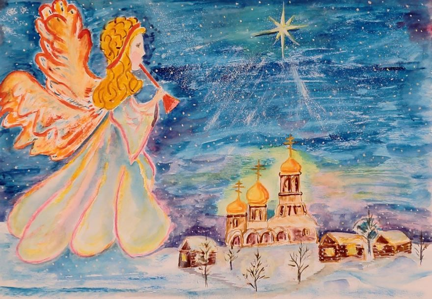 Красивые, детские рисунки на Рождество