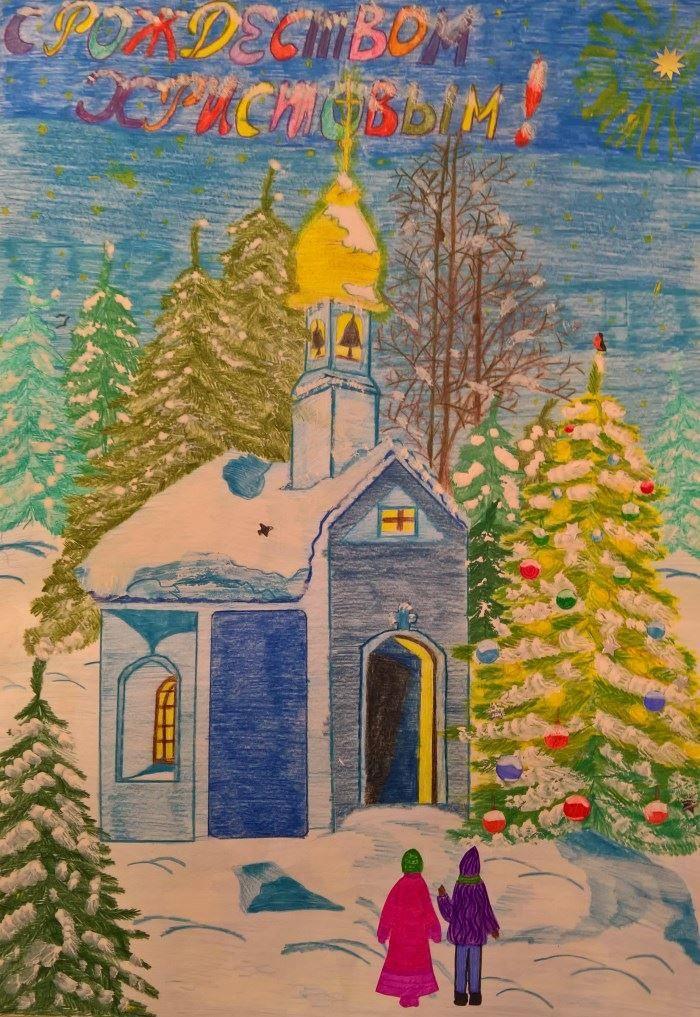 Рождество рисунок карандашом