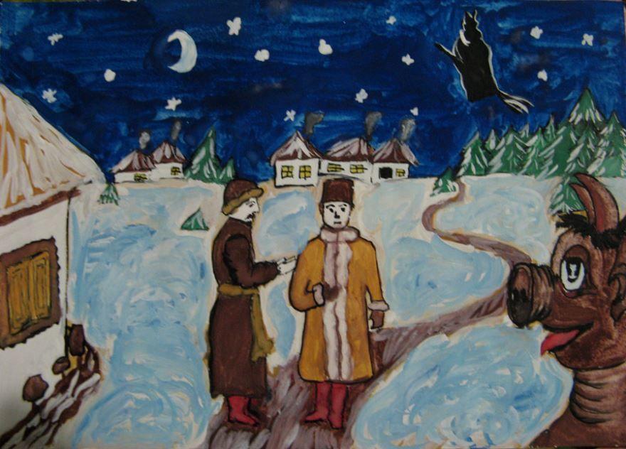 Ночь перед Рождеством рисунки красками детские