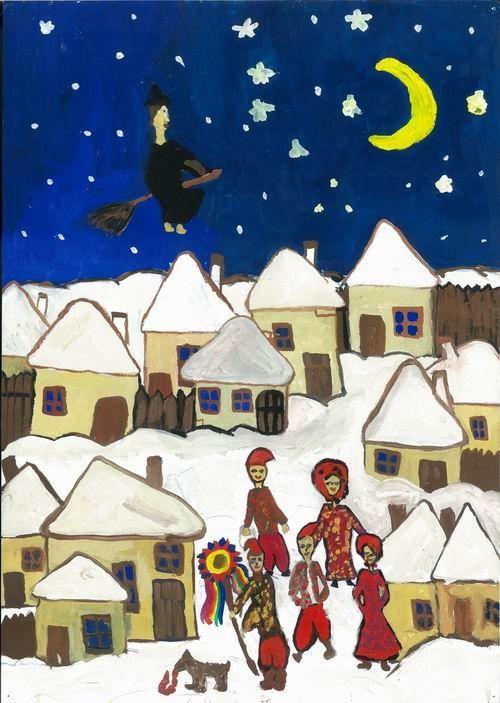 Ночь перед Рождеством рисунки для детей 5 класса