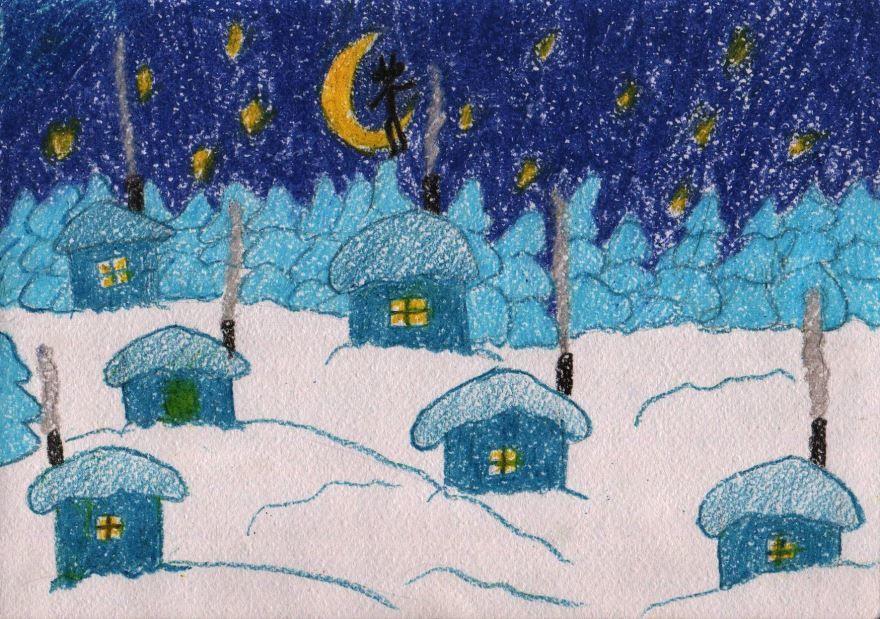Ночь перед Рождеством, рисунки карандашом 5 класс