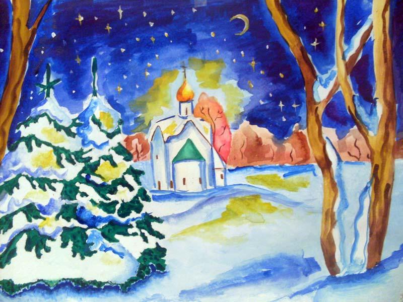 Рождество рисунок красками