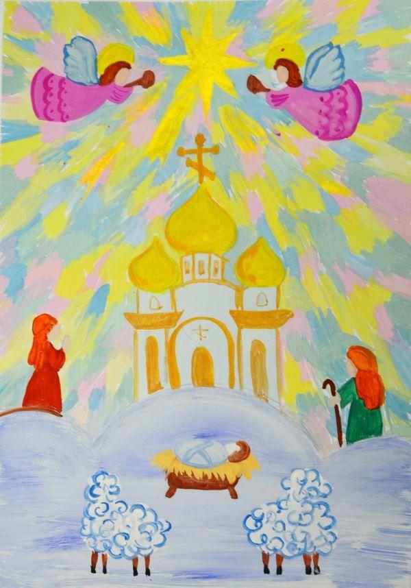 Рисунок на Рождество, детский