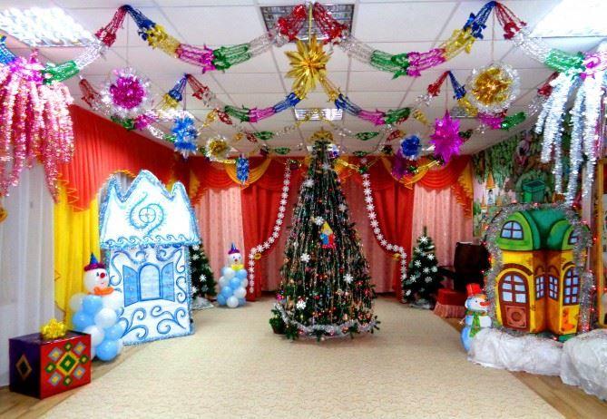 Украшение зала детского сада к Новому году, своими руками