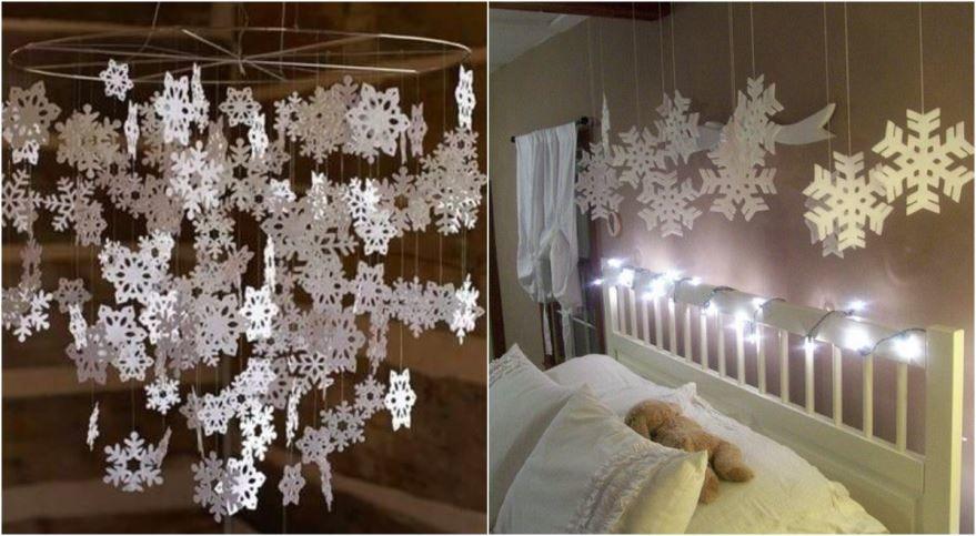 Украшение комнаты из бумаги на Новый год