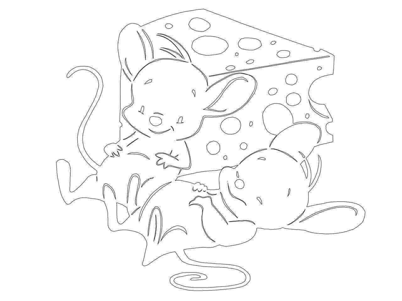 Трафареты мышей на Новый год для вырезания