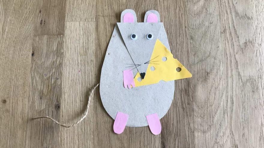 Крыса символ 2020 Нового года из бумаги, своими руками