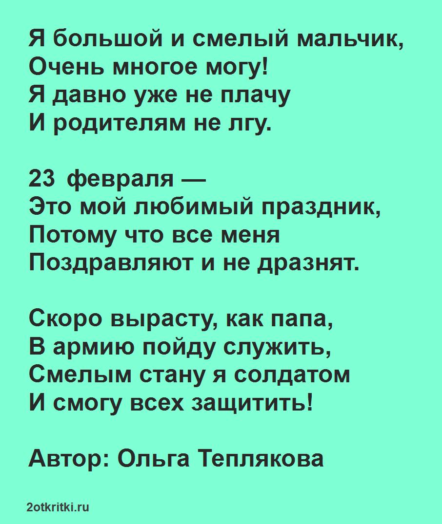 Стихи для ребенка 6-7 лет на 23 февраля, для заучивания наизусть