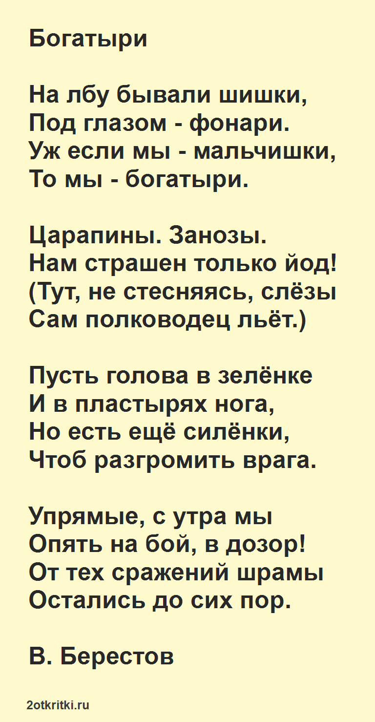 Стих для ребенка 7 лет на 23 февраля