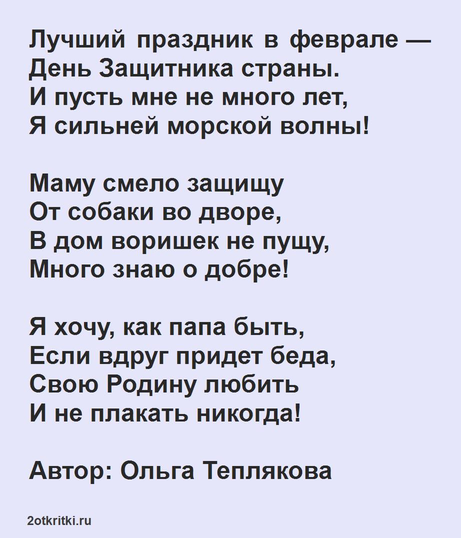 Короткие, легкие стихи на 23 февраля для школьников