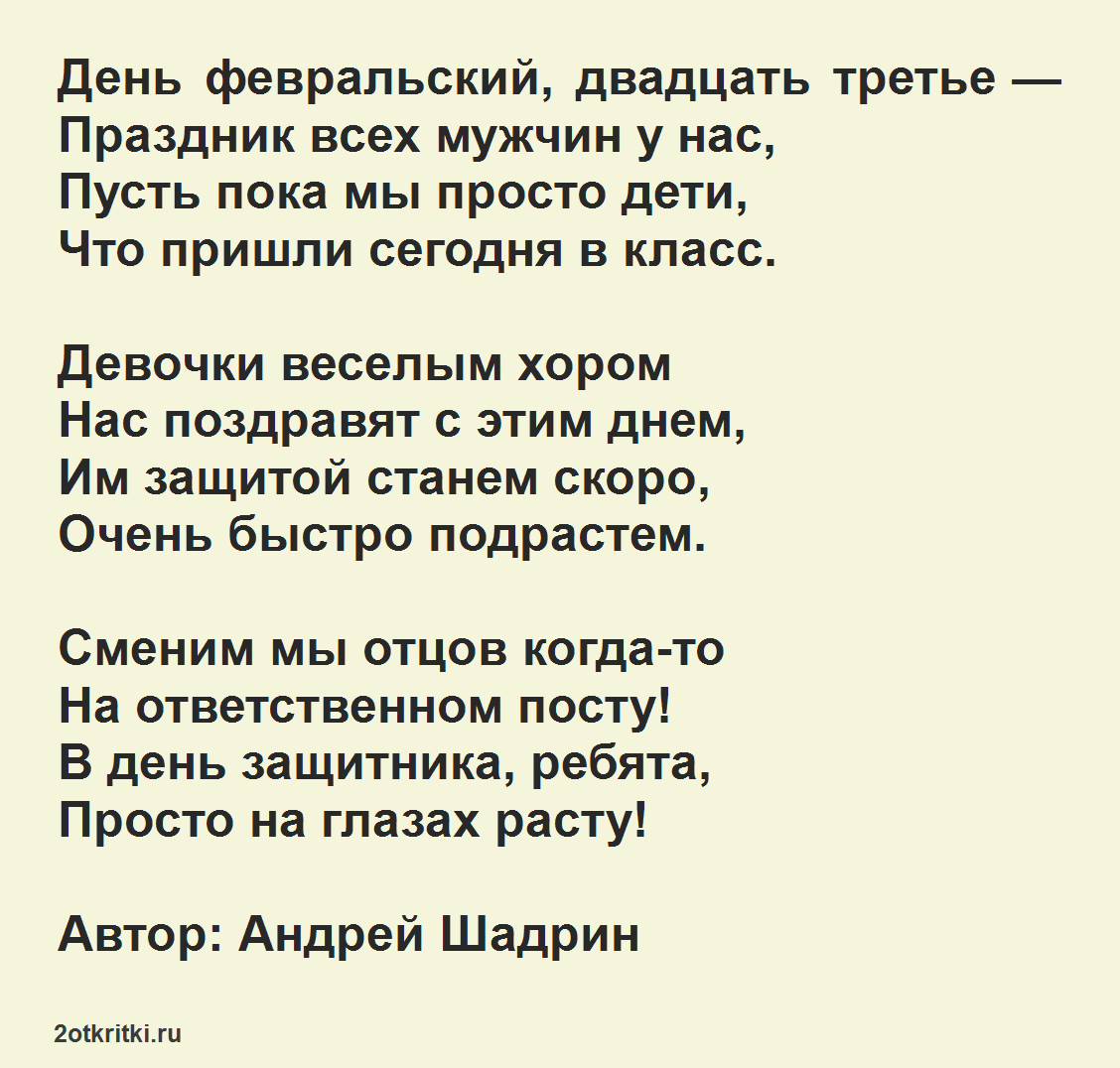 Стихи на день защитников Отечества для младших школьников