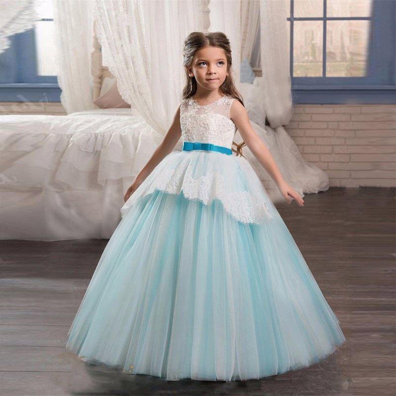Пышное, длинное платье на выпускной в детский сад для девочки