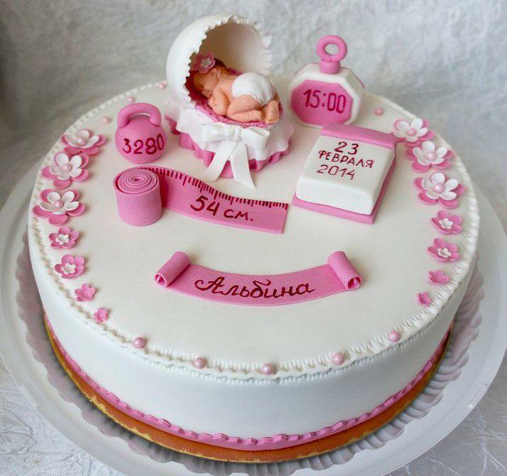 Торты на рождение ребенка девочки фото