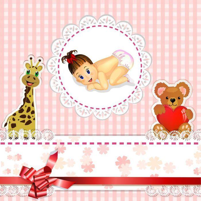 Приглашение на рождение ребенка, девочки
