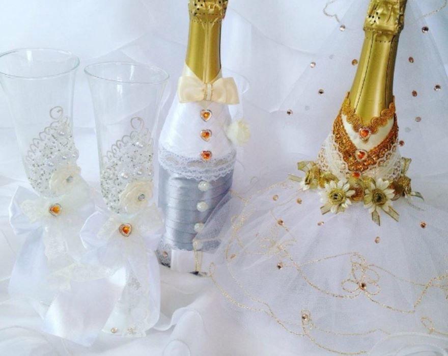 Оформление бокалов на Свадьбу