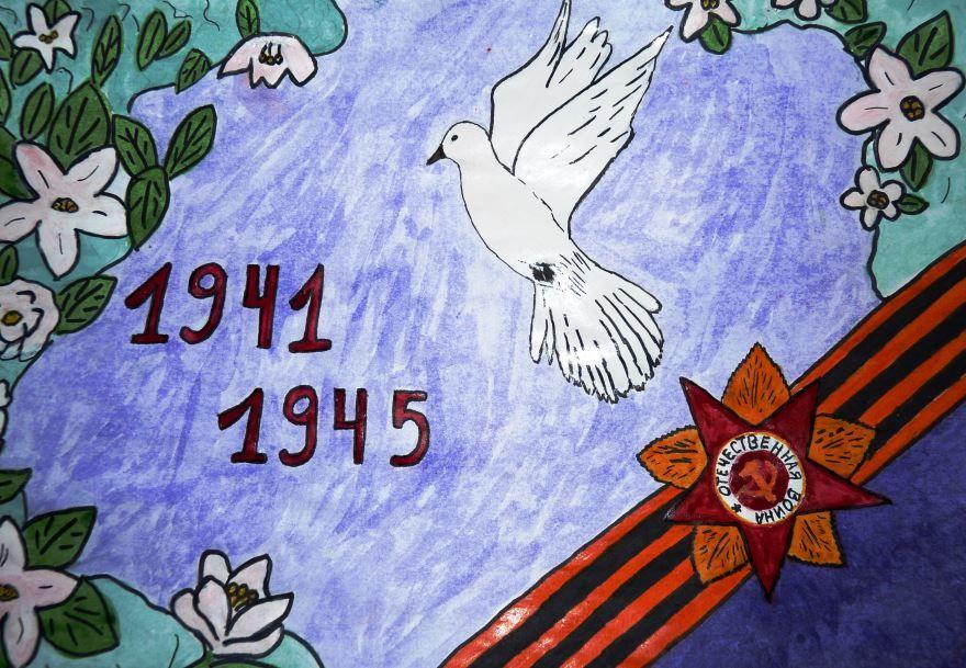 Рисунки к Дню Победы 9 мая, детские