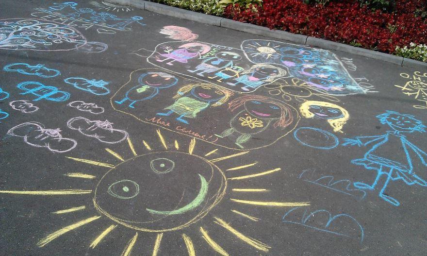 Рисунки на асфальте на 1 июня день защиты детей