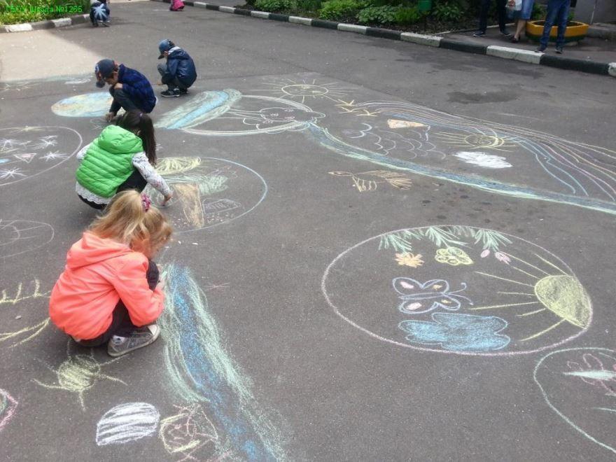 Рисунки на асфальте 1 июня - день защиты детей