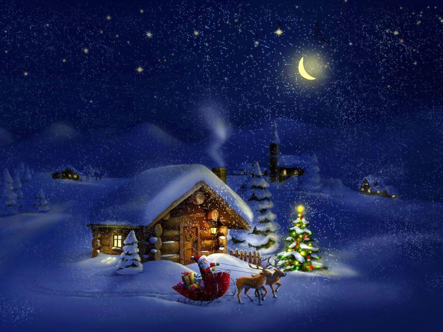 Рождество праздник красивая открытка