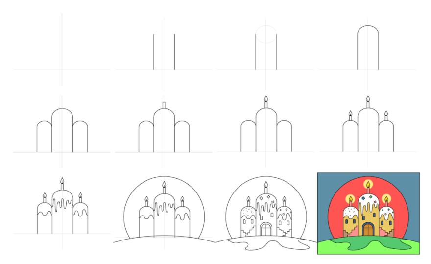 Нарисовать на тему пасха поэтапный рисунок для детей
