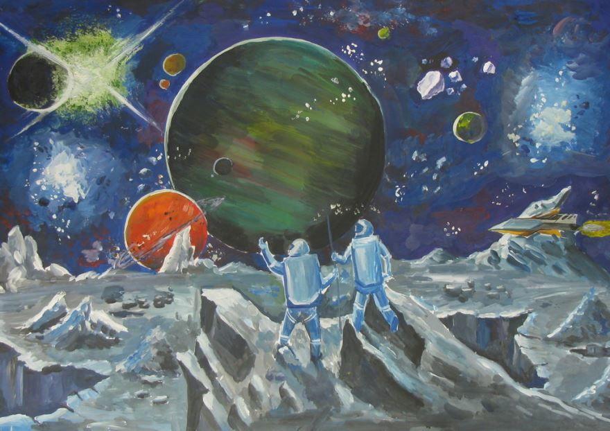 Рисунки ко дню космонавтики