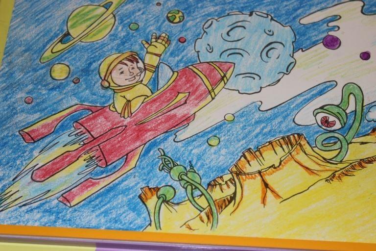 Детские рисунки ко дню космонавтики