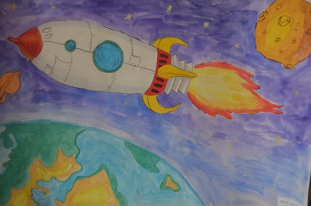 Нарисовать рисунок ко дню космонавтики